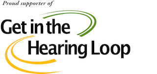 Get in the Hearing Loop logo colors are black, green and yellow