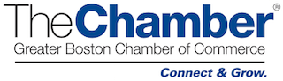 Greater Boston Chamber of Commerce Logo are blue and gray.