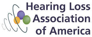 Hearing Loss Association of America Logo. Colors are black, green, purple and yellow.