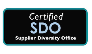 Certified Supplier Diversity Office Logo are light blue and white.