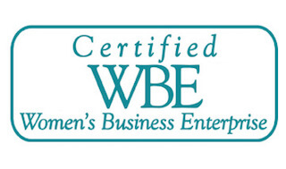 Certified Women's Business Enterprise Logo color blueish green.