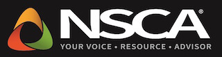 NSCA logo colors are white, black, red, green and orange